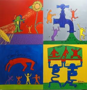 Team building créatif collaboratif version Keith Haring
